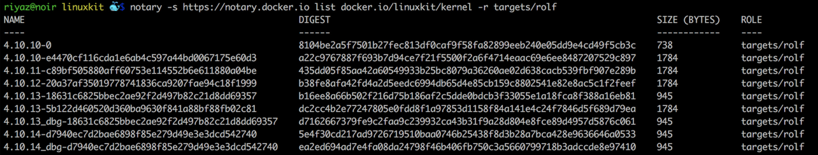 Notary signatures on linuxkit/kernel images
